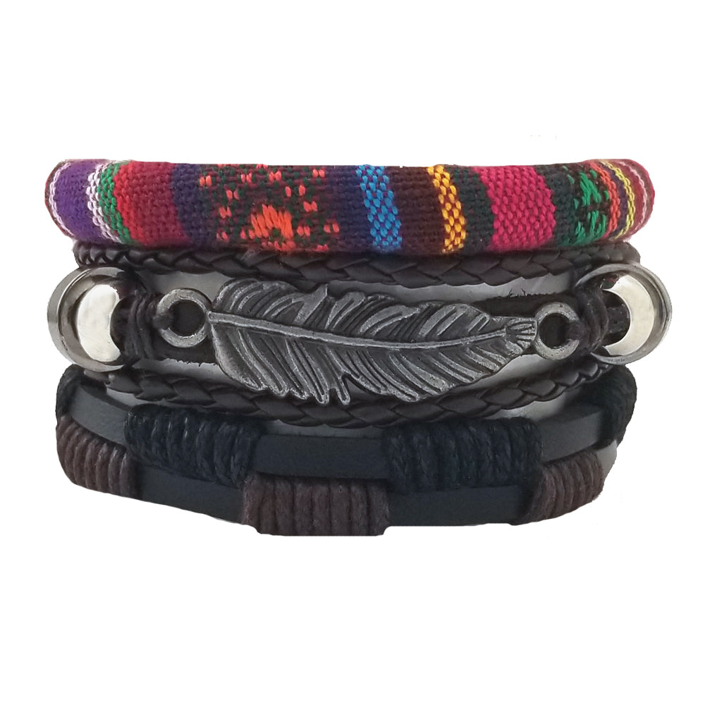 Santa Fe Feather Leather Bracelet Set - Silverado Outpost