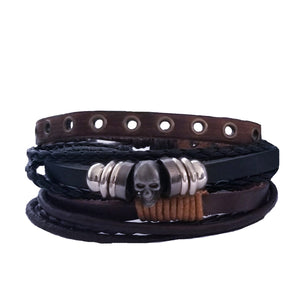 Skull Bracelet Set - Brown