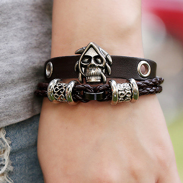 Skull Rider Leather Adjustable Bracelet