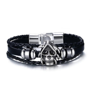 Skull rider leather bracelet from Silverado Outpost