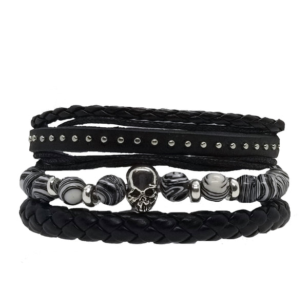Skull Beads Leather Bracelet Set - Black White Swirls - Silverado Outpost