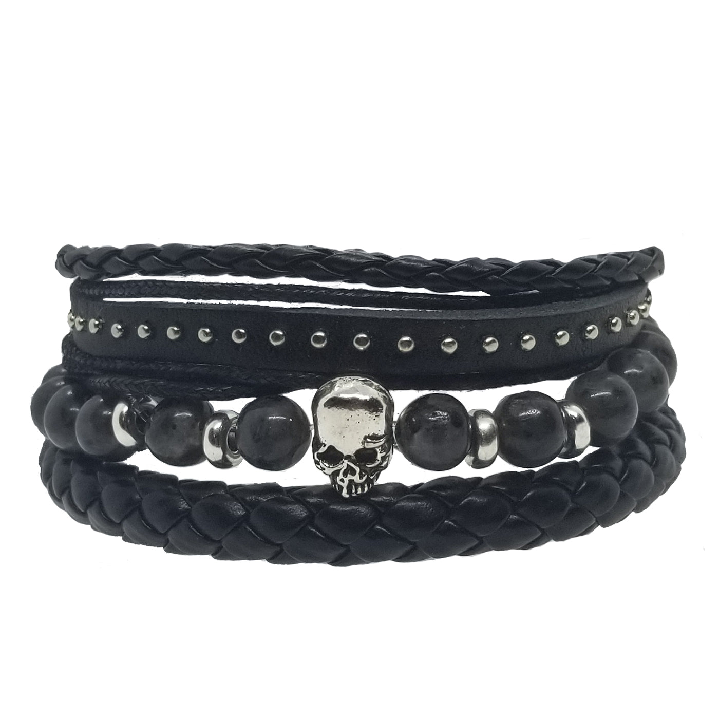 Skull Beads Leather Bracelet Set - Gray - Silverado Outpost