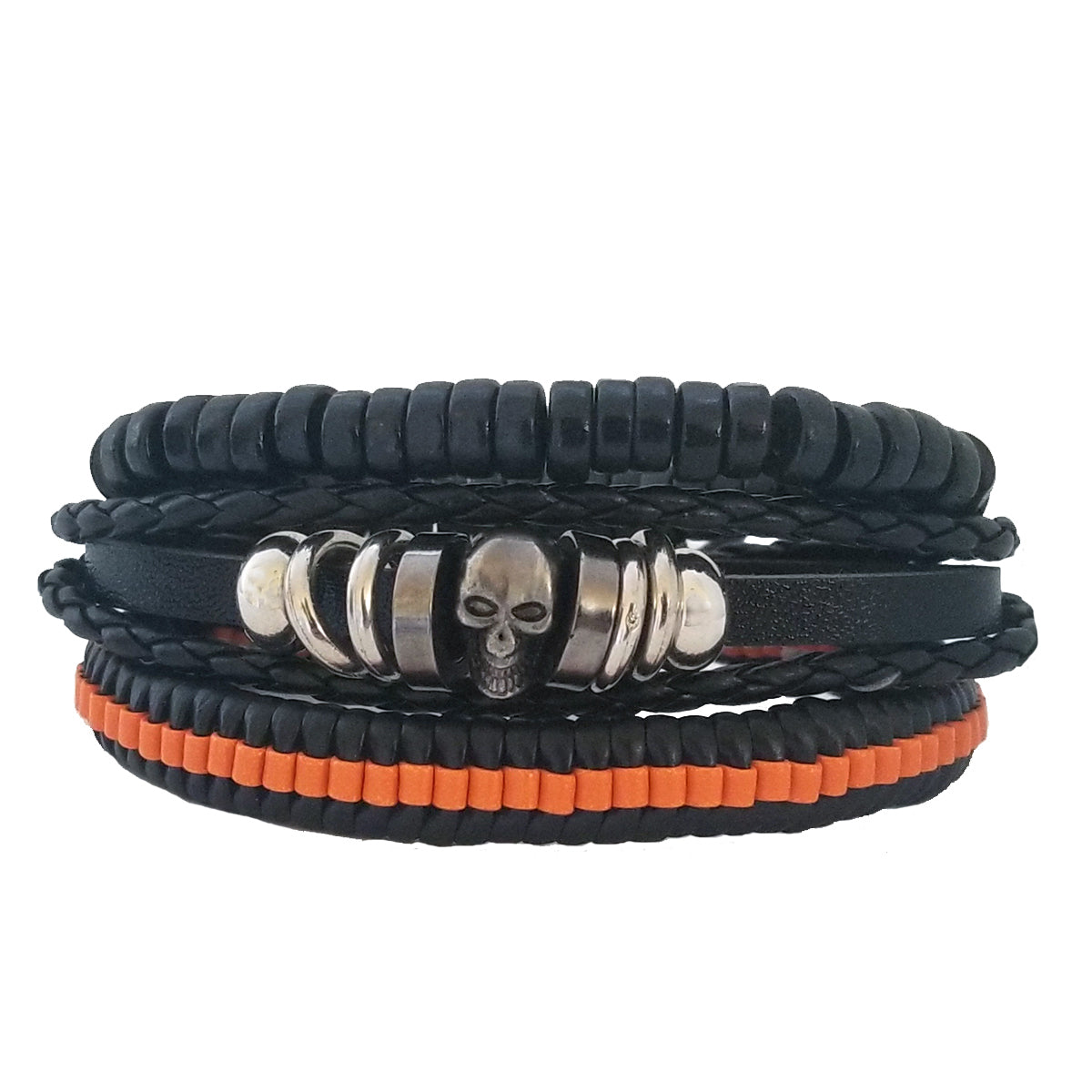 Skull Bracelet Set - Orange - Silverado Outpost