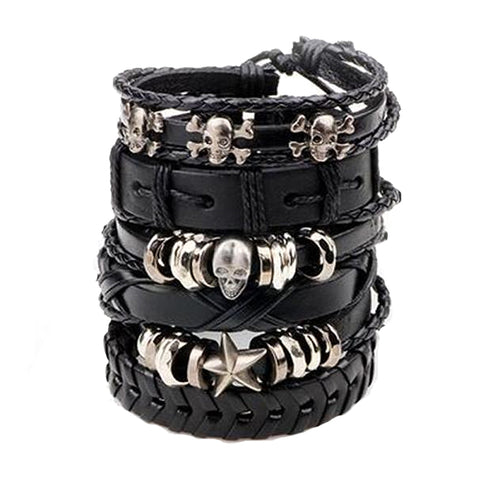 Skull Leather Bracelet Set - Silverado Outpost