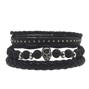 Skull Beads Leather Bracelet Set - Lava - Silverado Outpost