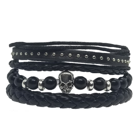 Skull Beads Leather Bracelet Set - Black - Silverado Outpost