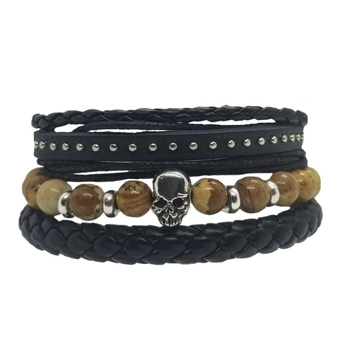 Skull Bead Leather Bracelet Set - Light Brown - Silverado Outpost