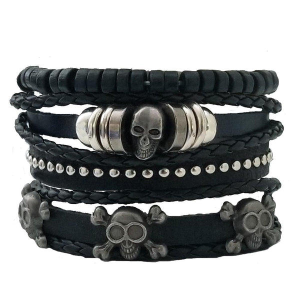 Skull Multilayer Bracelet Set - Silverado Outpost