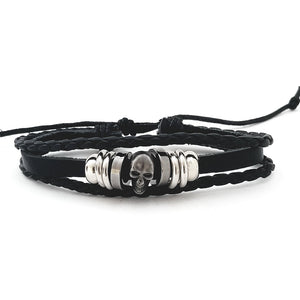 Skull Leather Bracelet - Silverado Outpost