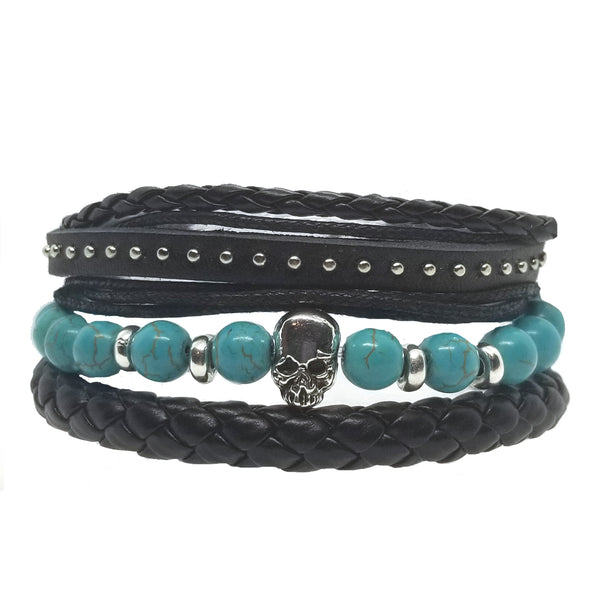 Skull Beads Leather Bracelet Set - Aqua - Silverado Outpost