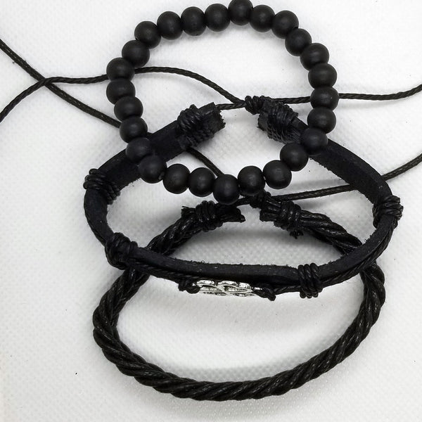 Four Leaf Clover Bracelet Set - Black
