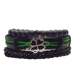 Four Leaf Clover Bracelet Set - Green
