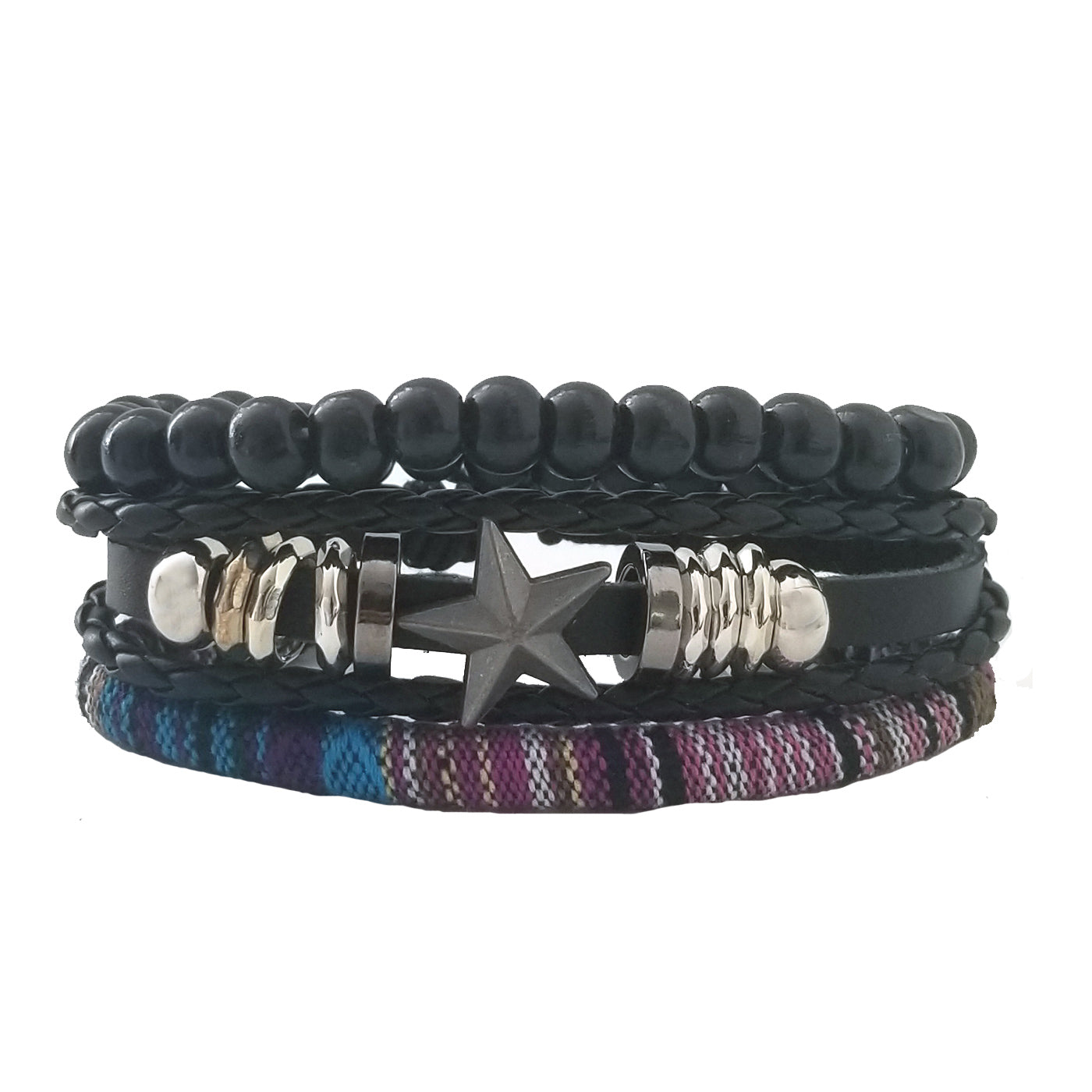 Purple Star Leather Bracelet Set - Silverado Outpost