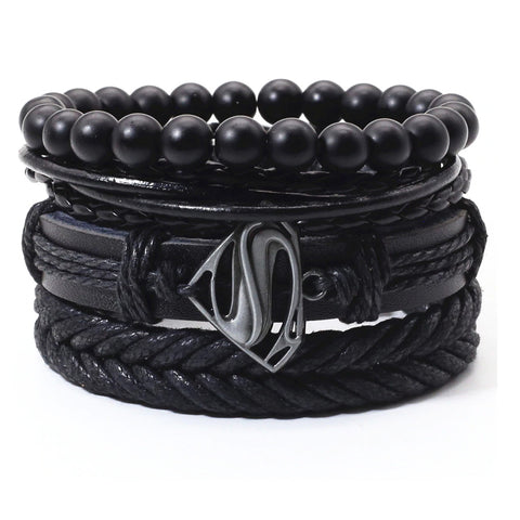 Man of Steel Multilayer Leather Bracelet Set - Silverado Outpost