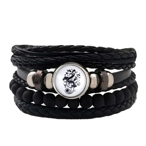 Treble Clef  Multilayer Bracelet Set - Black