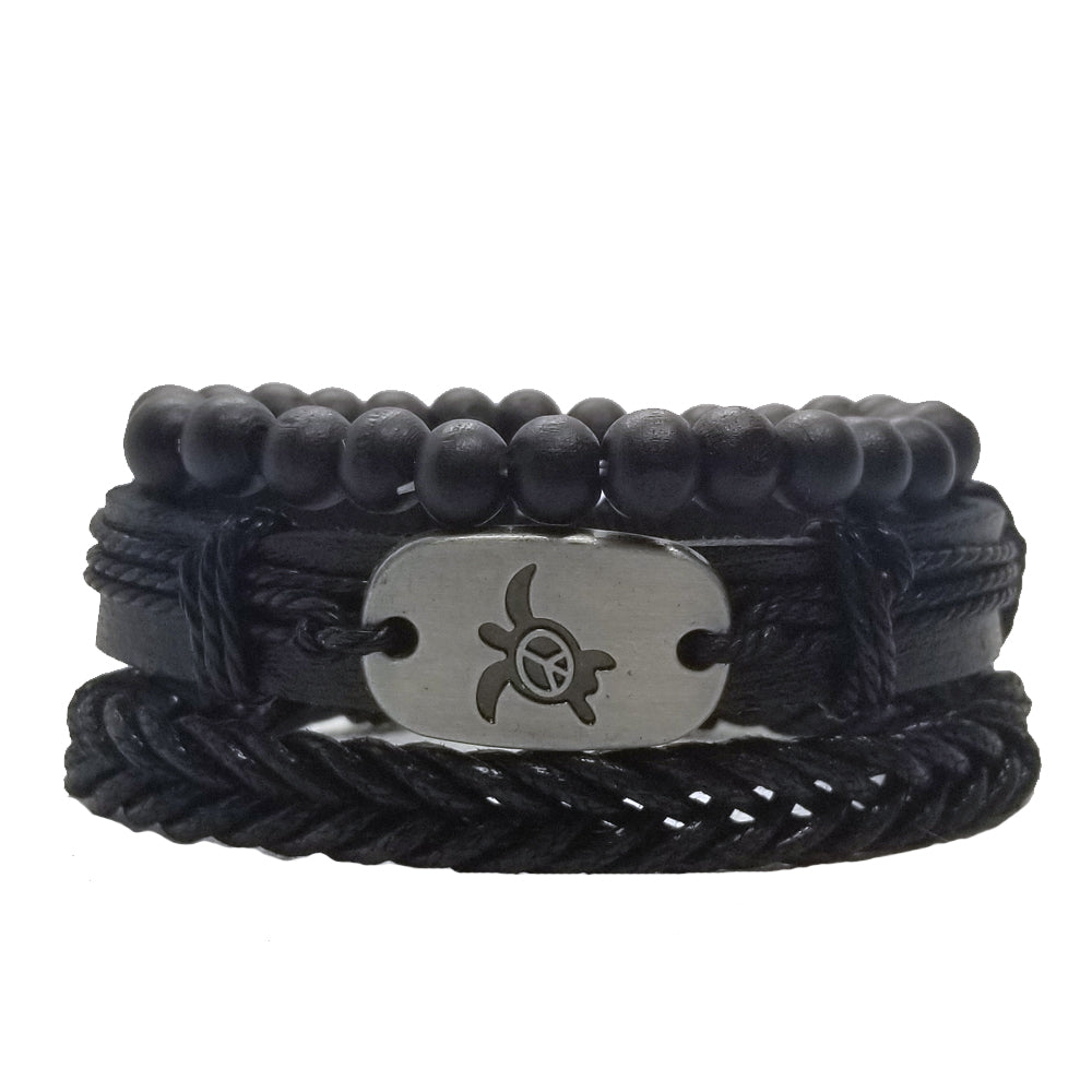 Turtle Peace Bracelet Set - Black