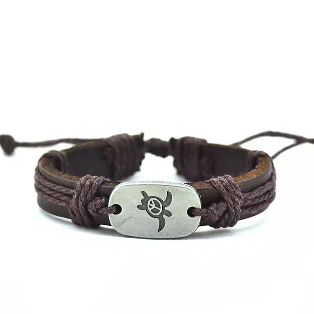 Turtle Peace Bracelet - Dark Brown