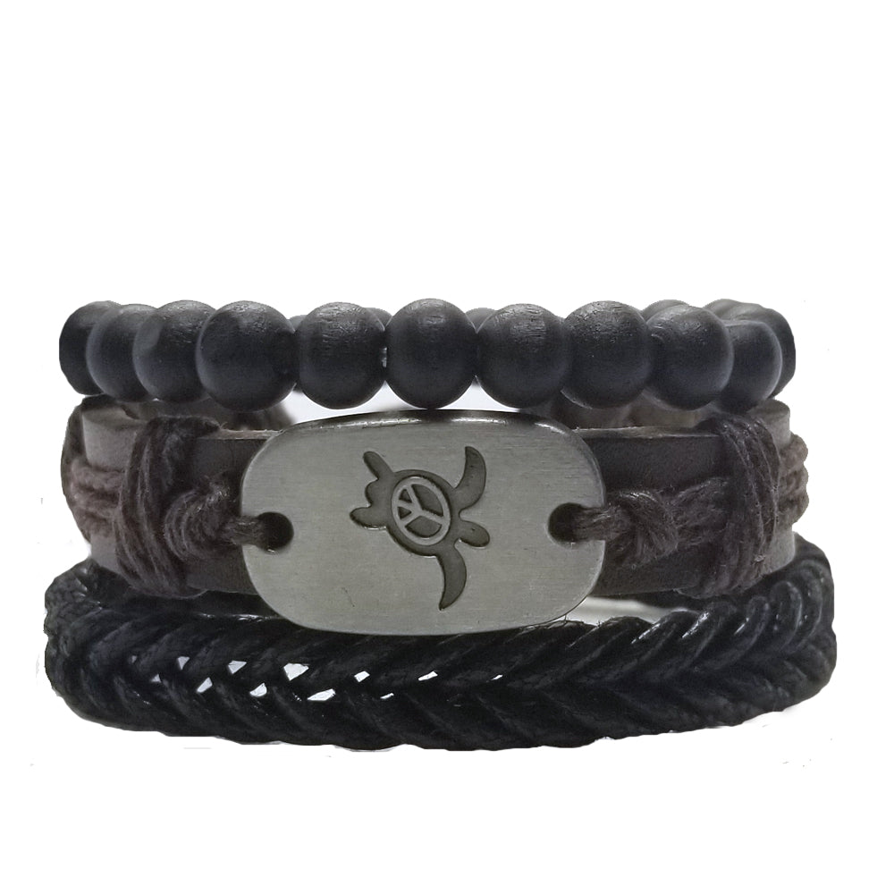 Turtle Peace Bracelet Set - Brown/Black