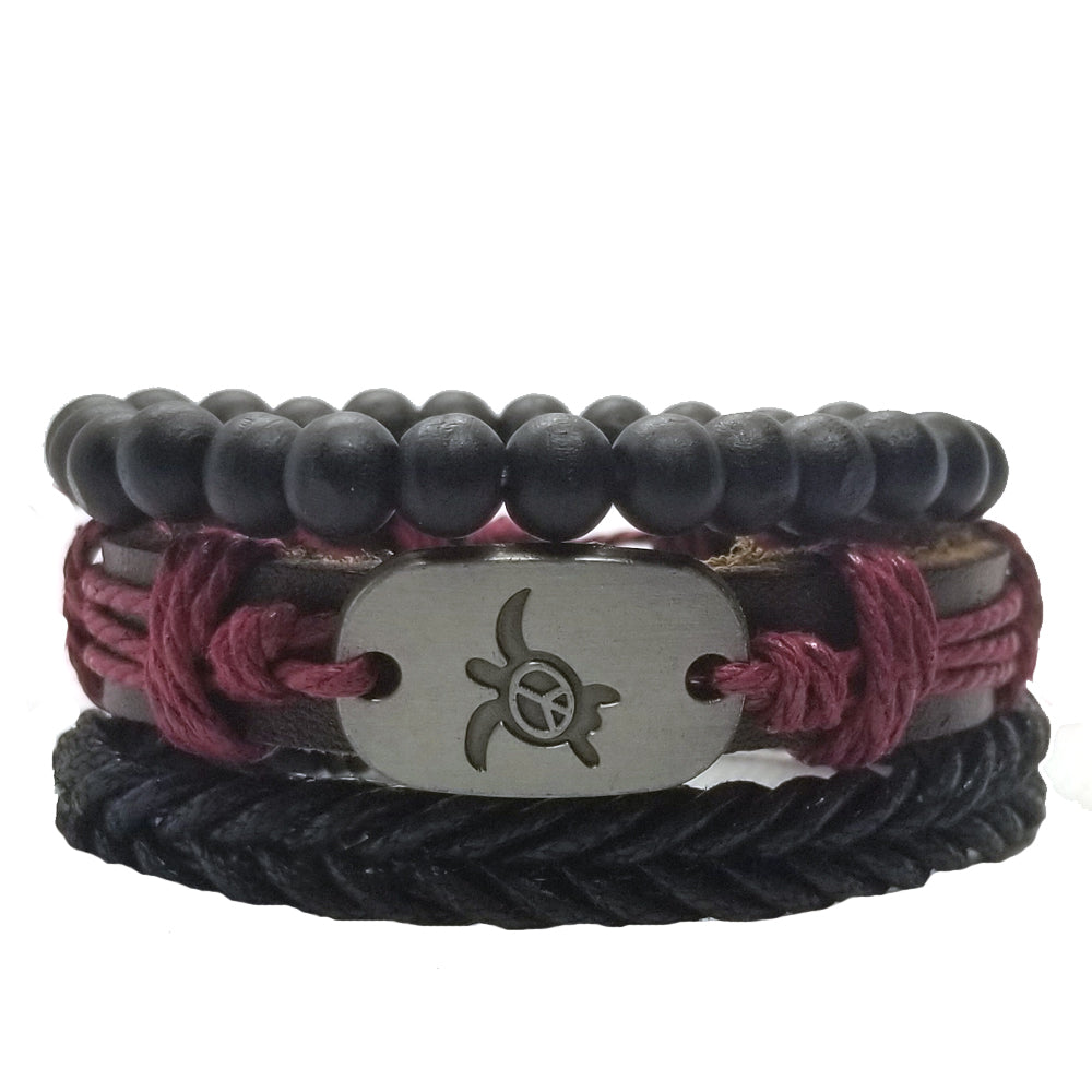 Turtle Peace Bracelet Set - Red