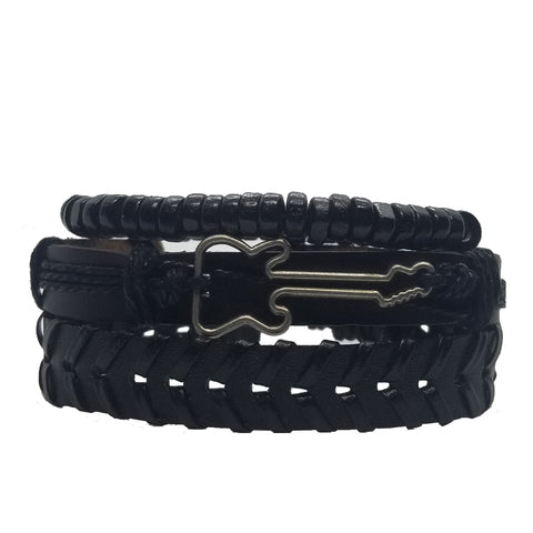 Brown/Black Vegan Guitar Bracelet Set