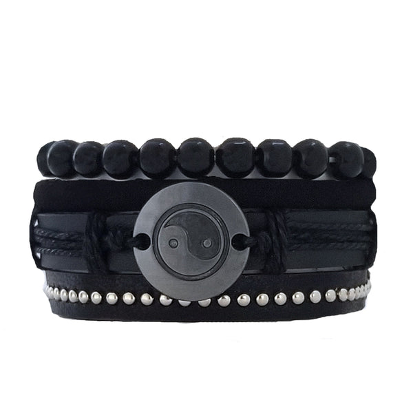 Yin Yang Black Leather Bracelet Set - Silverado Outpost