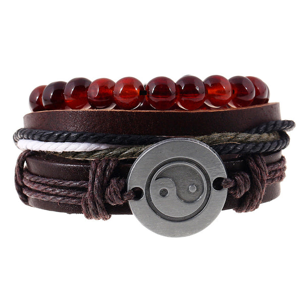 Yin Yang Brown Leather Bracelet Set - Silverado Outpost