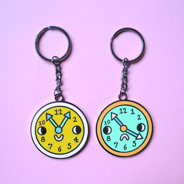 Double Sided Hard Enamel Pocket Watch Key Chain With GIFT BOX