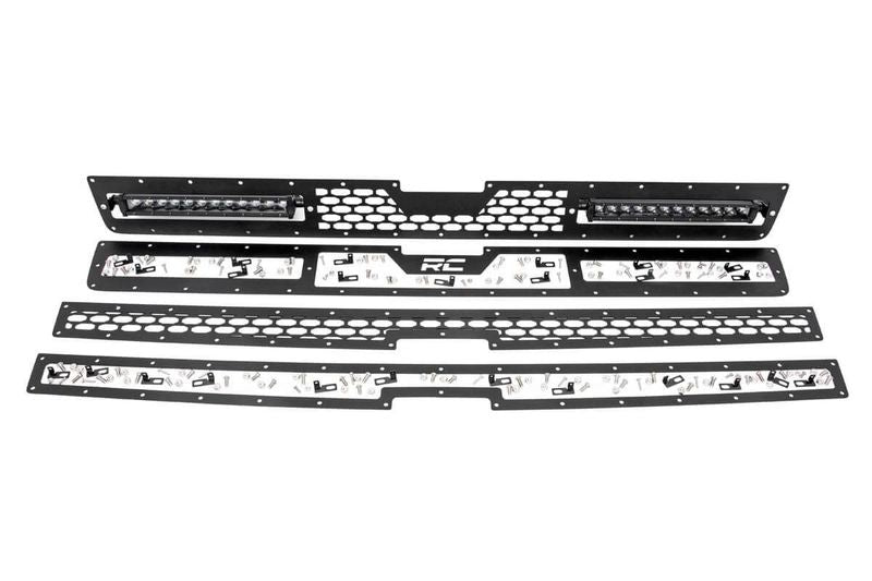 ROUGH COUNTRY MESH GRILLE W/ DUAL 12IN BLACK SERIES LEDS