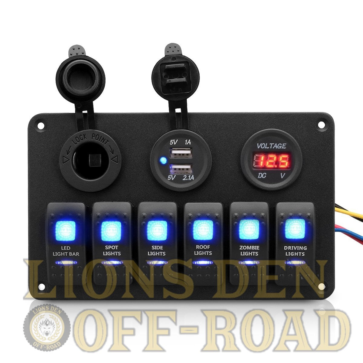 Six Switch Rocker Panel W Usb 12v Source Volt Meter Lions Den 12 Fuse Box Enclosed Off Road