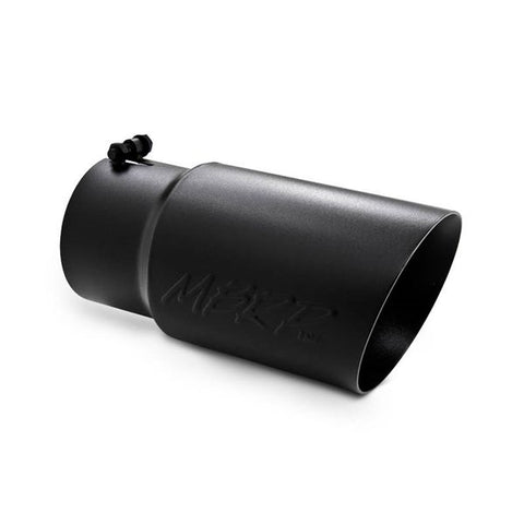 "MBRP T5074BLK TIP | 6"" O.D. DUAL WALL ANGLED 5"" INLET 12"" LENGTH BLACK COATED - T304"