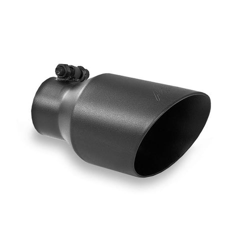 "MBRP T5123BLK TIP | 4"" O.D. DUAL WALL ANGLED 2.5"" INLET 8"" LENGTH BLACK COATED - T304"