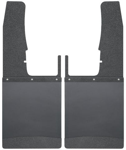 "HUSKY KICK BACK MUD FLAPS FRONT 12"" WIDE - BLACK TOP AND BLACK WEIGHT"