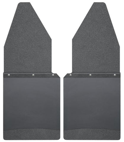"HUSKY KICK BACK MUD FLAPS 12"" WIDE - BLACK TOP AND BLACK WEIGHT"
