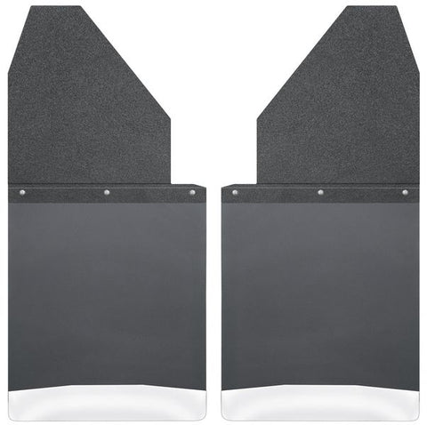 "HUSKY KICK BACK MUD FLAPS 14"" WIDE - BLACK TOP AND STAINLESS STEEL WEIGHT"
