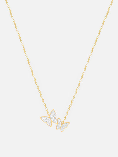18ct Gold Butterfly Necklace, Butterfly Jewellery, Dainty Gold Necklace, Two Butterflies (Stainless Steel) - Muchv Jewellery