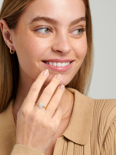 18ct Gold Heart Ring, Adjustable Sparkling Heart Ring, Dainty Promise Ring, Statement Jewellery (18ct Gold Plated 925) - Muchv Jewellery