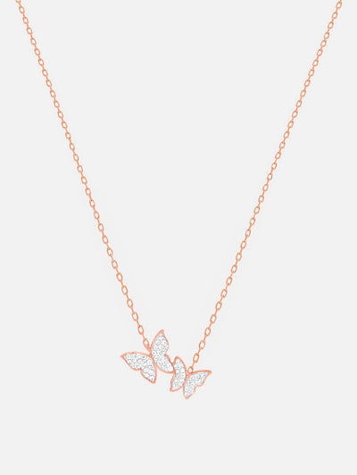 18ct Rose Gold Butterfly Necklace, Butterfly Jewellery, Dainty Rose Gold Necklace, Two Butterflies (18ct Rose Gold Plated Stainless Steel) - Muchv Jewellery