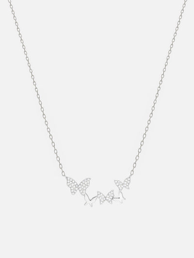 18ct White Gold Butterfly Necklace, Dainty Butterfly Jewellery, Silver Necklace Five Butterflies Pendant (925 Sterling Silver) - Muchv Jewellery