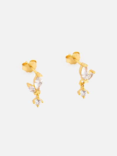 18ct Gold Tiny Charm Stud Earrings, Marquise Stone Dangle Earrings, Dainty Drop Earrings (18ct Gold Plated 925 Sterling Silver) - Muchv Jewellery