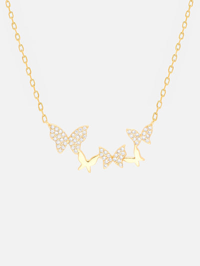 18ct Gold Pave Butterflies Necklace, Gold Butterfly Jewellery, Dainty Butterfly Necklace CZ Butterflies Pendant (925 Sterling Silver) - Muchv Jewellery