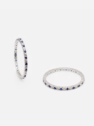 1.6mm Dainty Eternity Ring, 0.10ct Blue Spinel Gemstone Ring, Stackable Eternity Ring Band, Thin Silver Ring, Blue Jewellery (925 Sterling Silver) - Luxury Women's Jewellery Gift For Her by Muchv Jewellery - muchvjewellery.com