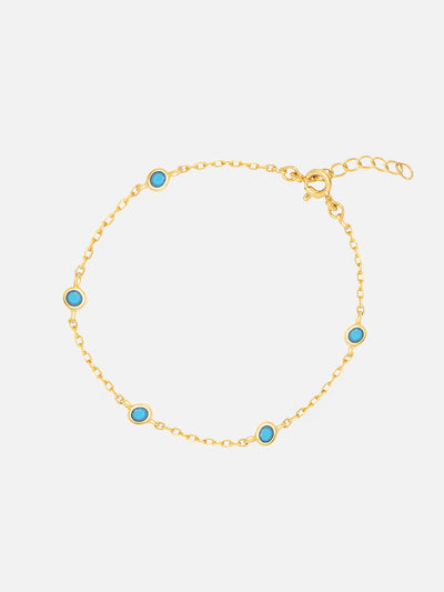 18ct Gold Turquoise Charm Bracelet, Bezel Blue Charms, Dainty Gold Chain Bracelet, Turquoise Jewellery (Gold Plated 925 Sterling Silver) - Muchv Jewellery