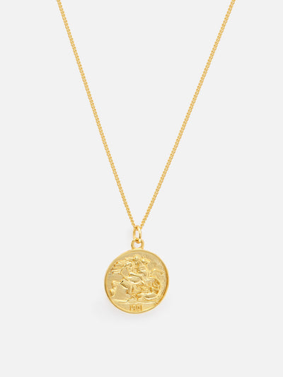 Gold Coin Necklace - Reversible Vintage Coin Necklace, Gold Medallion - Bohemian Roman Coin Necklace (925 Sterling Silver) - Muchv Jewellery