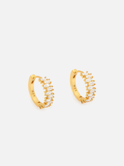 18ct Gold Baguette Hoop Earrings, 1.4cm Gold Huggie Hoops, Dainty Lightweight Hoops with Jagged Baguette Stones - Muchv Jewellery