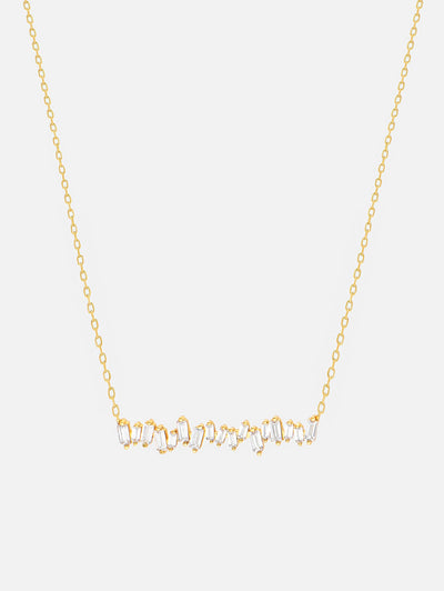 18ct Gold Baguette Necklace, Yellow Gold Bar Necklace, Baguette Cut Sparkling Necklace - Cubic Zirconia Jewellery (925 Sterling Silver) - Muchv Jewellery