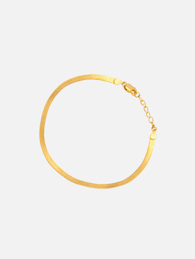 18ct Gold Herringbone Bracelet, Thin Gold Bracelet, Solid Herringbone Bracelet, Dainty Bracelet For Women (Yellow Gold Plated 925 Sterling Silver) - Muchv Jewellery