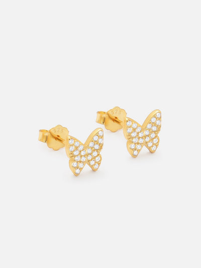 18ct Gold Sparkling Butterfly Earrings, Zirconia Pave Butterfly Studs, Dainty Butterfly Stud Earrings - Butterfly Jewellery (925 Sterling Silver) - Muchv Jewellery