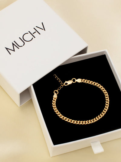18ct Gold Curb Chain Bracelet, Thin Gold Chain, Dainty Solid Chain Everyday Bracelet For Women (Yellow Gold Plated 925 Sterling Silver) - Muchv Jewellery
