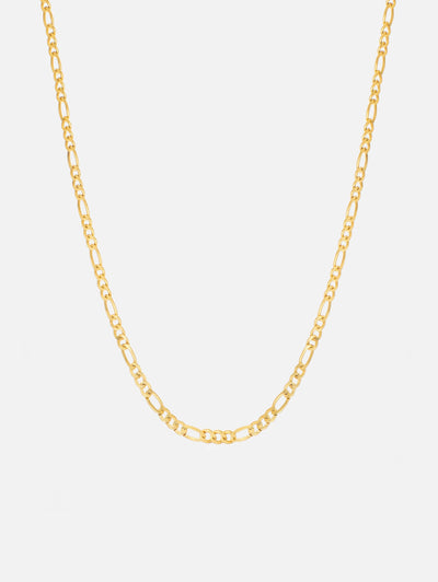 18ct Gold Figaro Chain Short Necklace, Thin Figaro Solid Link Chain Choker, Dainty Womens Chain (Yellow Gold Plated 925 Sterling Silver) - Muchv Jewellery