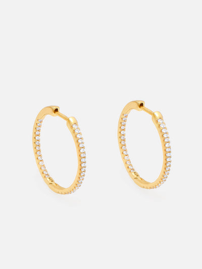 18ct Gold Thin Gold Hoop Earrings, Everyday Gold Hoops, Small Lightweight Zirconia Hoops Women (925 Sterling Silver) - Muchv Jewellery